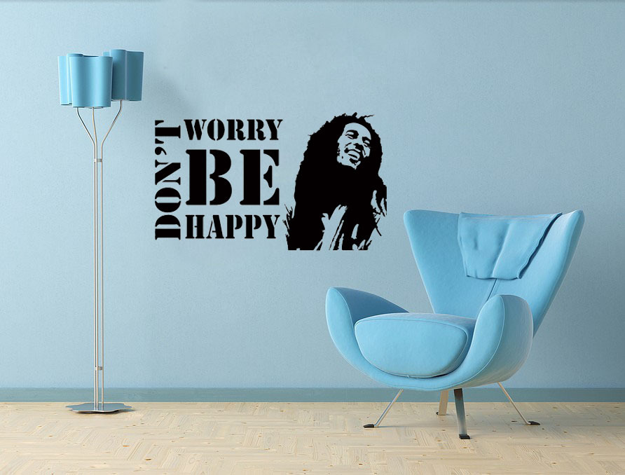 Don't Worry Be Happy vinyl wall quote for home(China (Mainland))