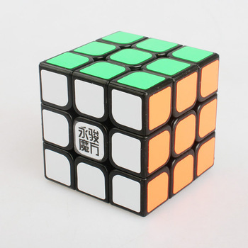 Free shipping YJ Yulong 3x3x3 Sticker Cube puzzle Black color(China (Mainland))