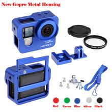 New Go pro camera Accessory Aluminium Housing Alloy Protective Case Cover Metal frame +UV filter for gopro 4 hero4,hero3+(China (Mainland))