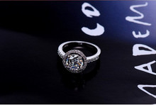 S925 round luxury wedding rings vintage engagement bague white gold filled accessories jewelry for women MSR038