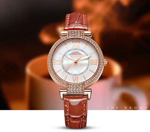 Women luxury mother pearl rhinestone accented dial fashion quartz watches japan movt 30m for Celebrity quartz watch japan movt