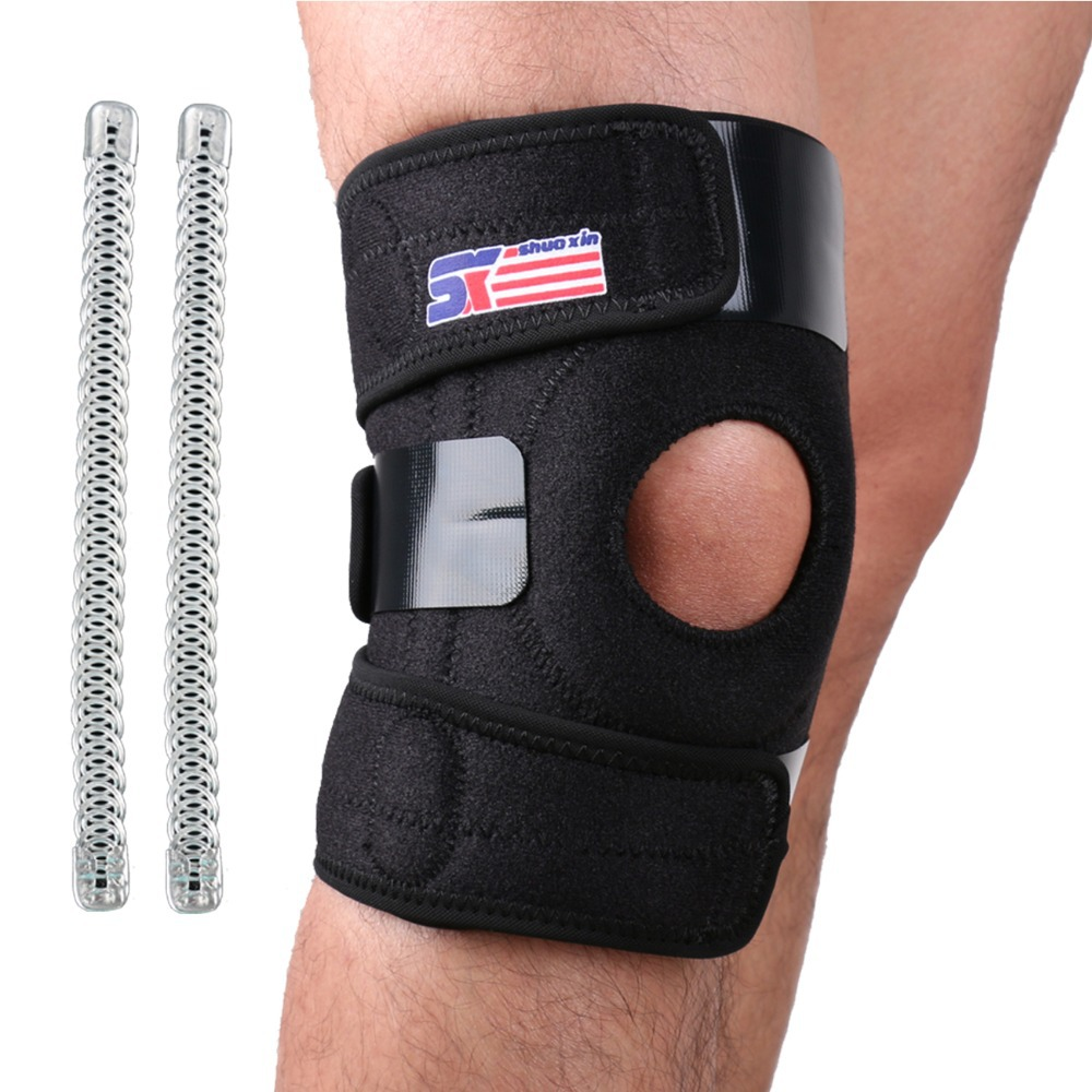 Free Shipping Adjustable Sports Leg Knee Support Brace Wrap Protector Pads Sleeve Cap Patella Guard 2 Spring Bars,One Size,Black(China (Mainland))