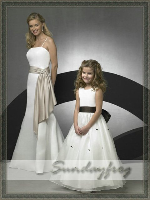Free Shipping Custom Made A-Line Flower Girl Dress Floor-length Organza Sash First Communion Dress Wedding Party Dress -FL154