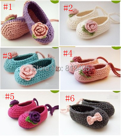 Wholesale - Crochet baby girl ballet shoes handmade flower leaves & bow lacing 0-12M cotton custom free shipping(China (Mainland))
