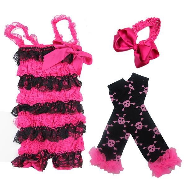 Baby Hot Pink Black Lace Petti Romper Skull Warmer Headband 3pcs 0-3Y(Hong Kong)