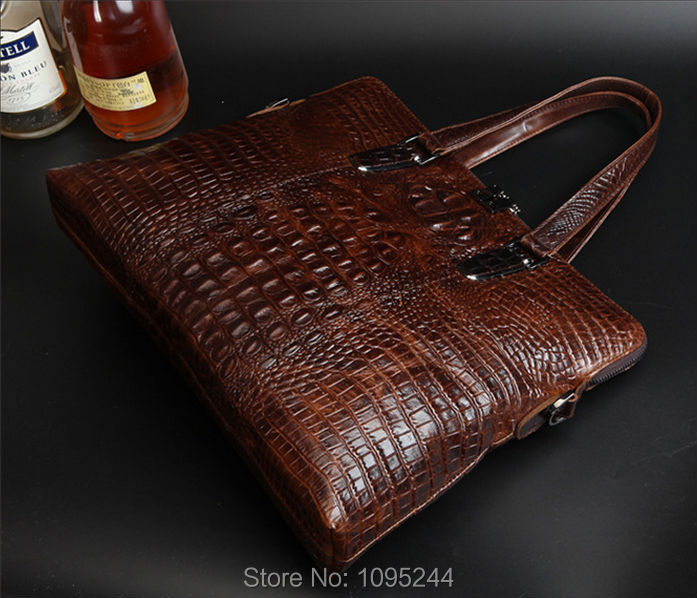 Diplomat shoulder tote messenger handbag Business bag new arrive Italy original 3D crocodile genuine leather wholesale dropship(China (Mainland))