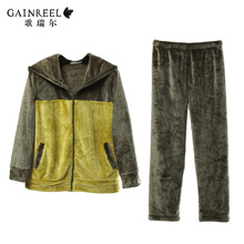 Song Riel thick Dongkuan male and female lovers casual and comfortable flannel pajama suit home service