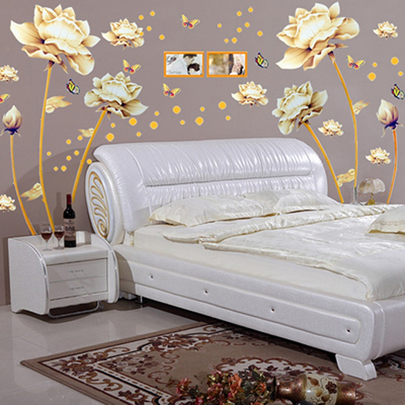 1 pc New Arrival Romantic design Golden Lotus Image Removable PVC Wall Sticker Decal Wallpaper DIY Home Decor(China (Mainland))