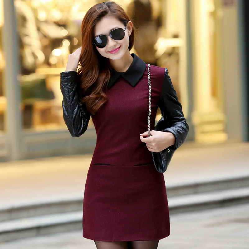 Best Quality 4 Colors Student Casual Wool PU Patchwork Dress OL Elegant Dresse Clothes Medium Winter Wear City Woman Dresses(China (Mainland))