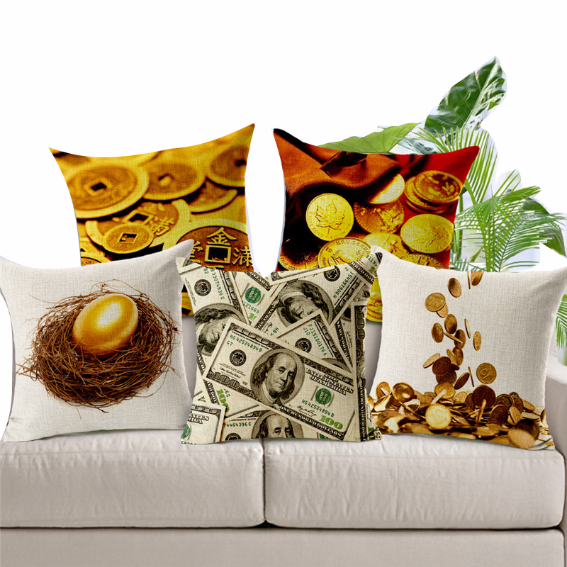 Creative 45*45cm Gold Coin Egg USD Dollar Code lying pillow cushoins seat cover decorative Pillow Case Covers bed linings(China (Mainland))
