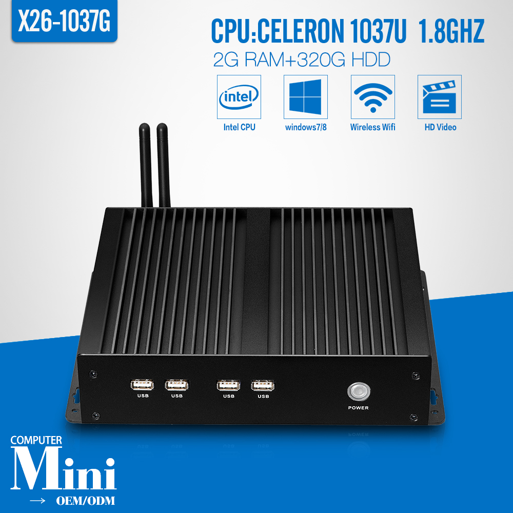 Fanless mini pc C1037U 2G RAM 320G HDD+WIFI network terminal sharer deluxe computer factory mini server linux(China (Mainland))