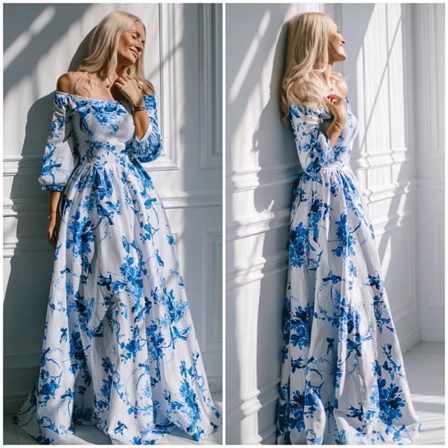 2015 new fashion print lace maxi women dress A-line slash neck chiffon white party summer dress Hot sale(China (Mainland))