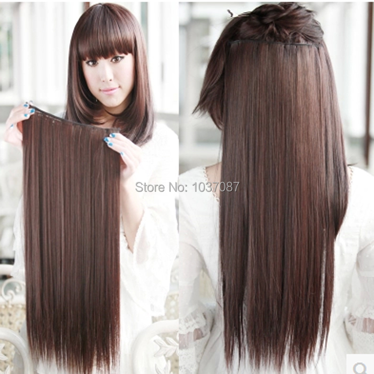 60 cm female clip in hair extensions women fashion long straight synthetic hair extension black. Black Bedroom Furniture Sets. Home Design Ideas