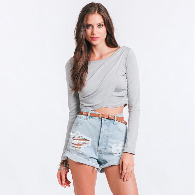 european and american street style unique criss cross t shirt femme short paragraph long sleeved. Black Bedroom Furniture Sets. Home Design Ideas