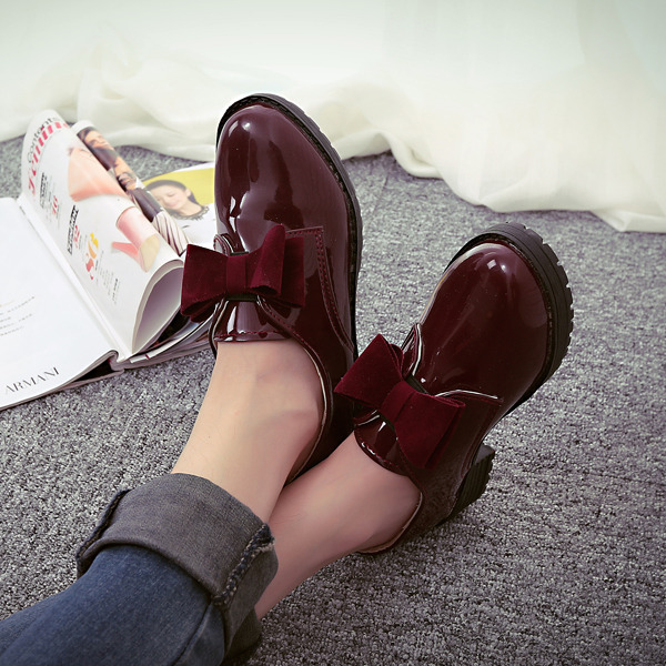 Fashion 2016 Brithish Womens Oxfords Pu Bowtie Slip On Oxfords Shoes for women Creepers Casual Ladies Flats Shoes<br><br>Aliexpress