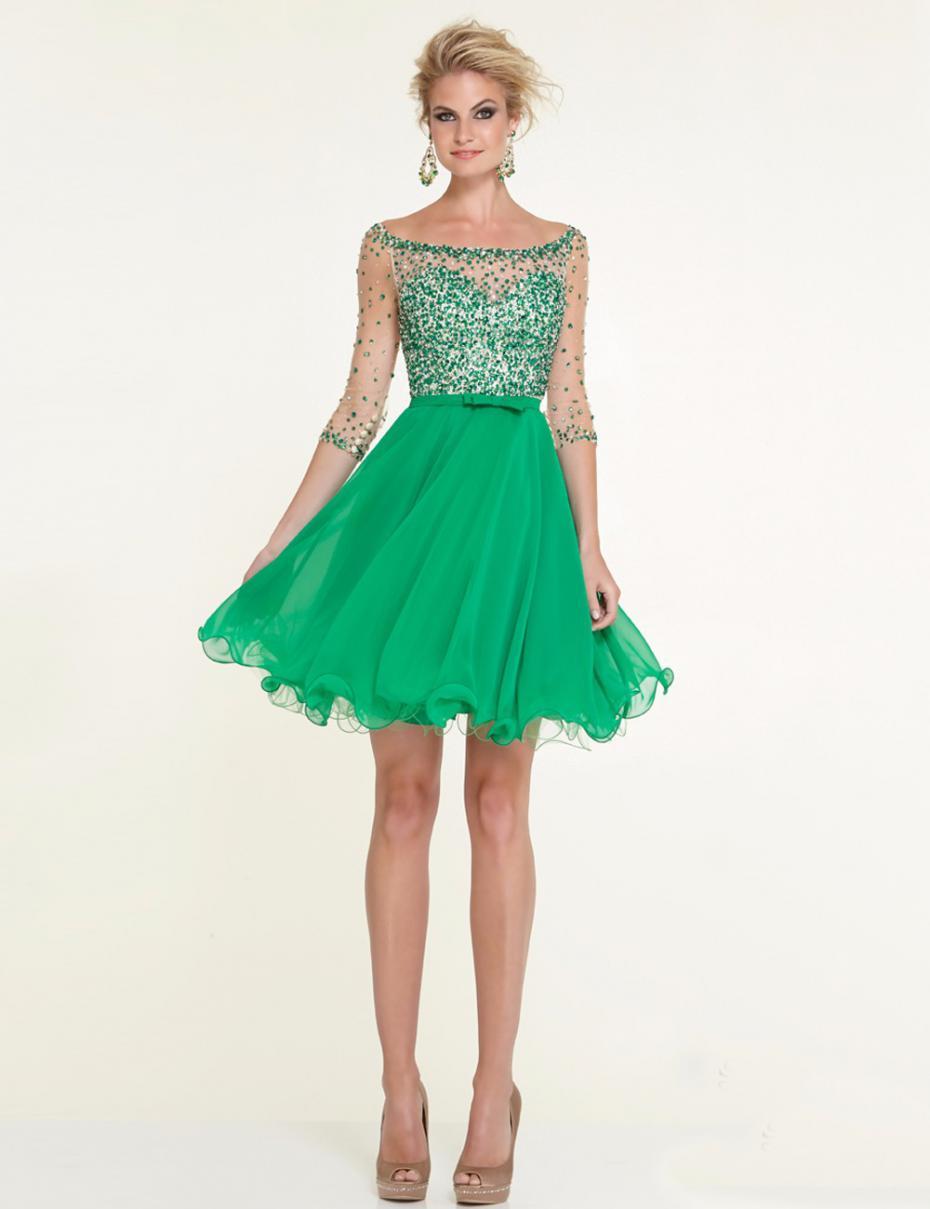 Short Emerald Green Cocktail Dresses Promotion-Shop for ...