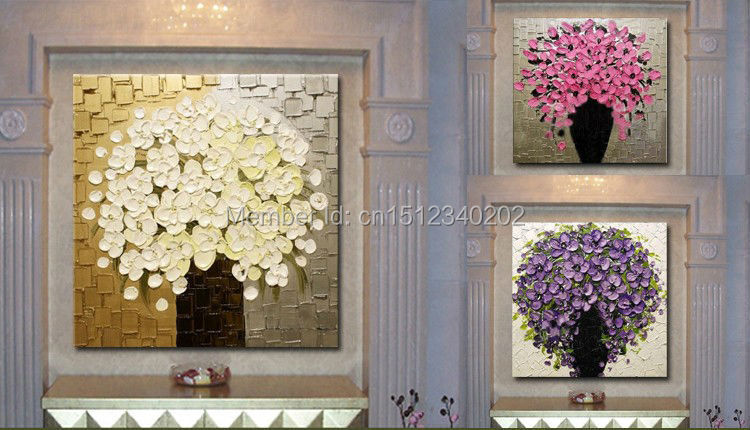 Buy High Quality modern painting 3pcs thick texture Hand-painted Palette knife flower Oil Painting on Canvas FREE SHIPPING t3p4 cheap