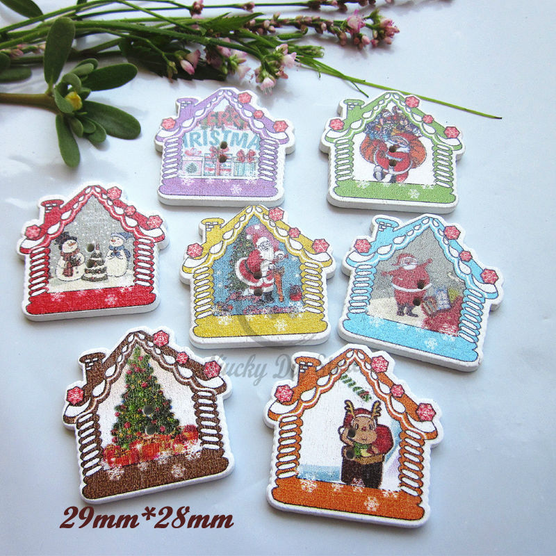 Christmas buttons 50pcs mixed christmas house decorative for Decorative pins for crafts