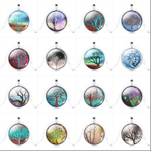 Tree Pendant Necklace Art picture glass cabochon Necklace silver chain vintage choker statement Necklace Fashion women Jewelry