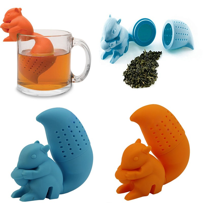High Quality Cute Squirrel Tea Strainer Herbal Silicone loose-leaf Tea Infuser Silicone Filter Diffuser Fun Tea Accessories  High Quality Cute Squirrel Tea Strainer Herbal Silicone loose-leaf Tea Infuser Silicone Filter Diffuser Fun Tea Accessories
