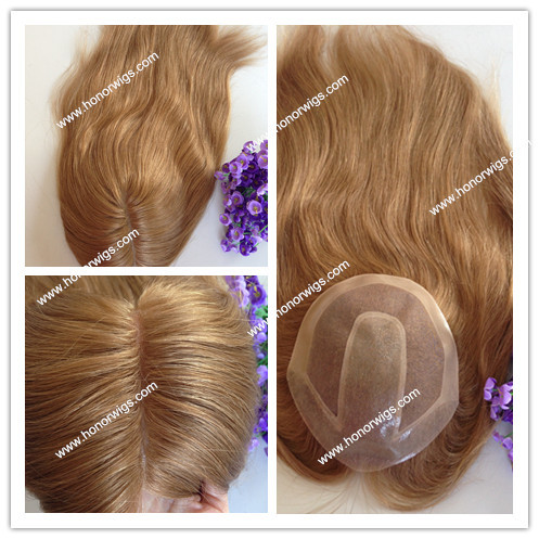 "16 inches straight 7""X9"" npu all around middle part customize women toupee light brown color #8 ht216 8inch to 22inch(China (Mainland))"