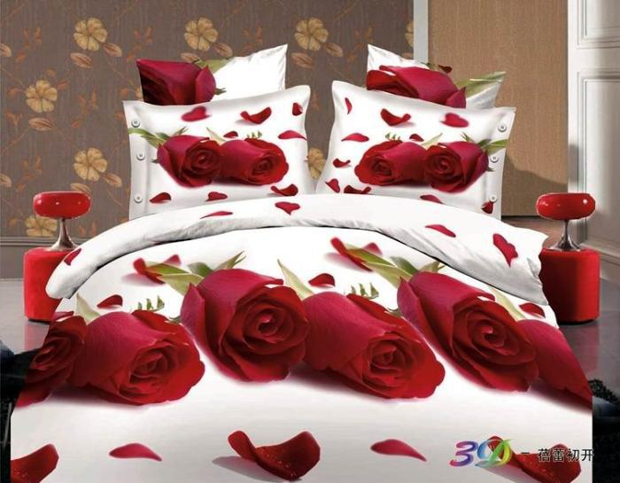 Elegant Red Rose Comforter Bedding Set Queen Size 4pcs 3d