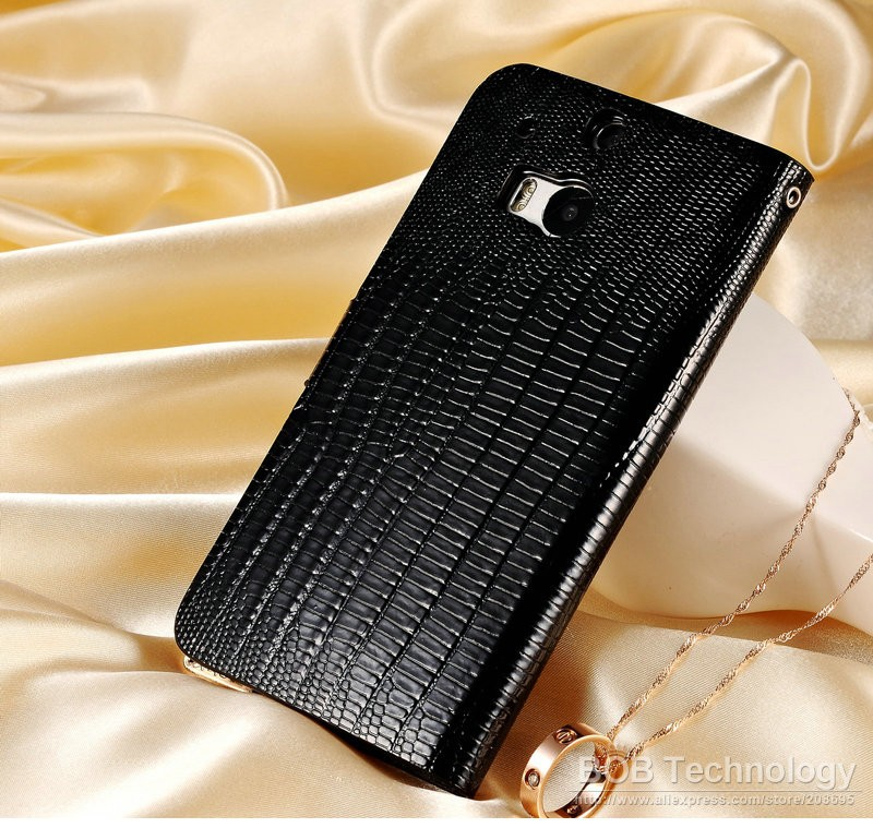 Bling PU Leather Case For HTC One M8 Flip Wallet Rhinestone Phone Bag Cover Black White Shining Lizard Pattern Shell
