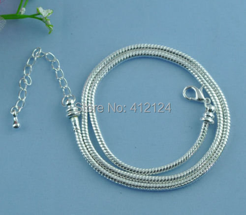 30 Silver Plated Charm Necklaces Snake Chain Lobster Clasp Fit European Beads Fashion DIY Women's Jewelry 50cm