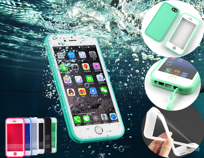 Waterproof Soft Case for Iphone 5 5s Se 6 6s 7 Plus Hybrid 360 TPU Rubber Cover Slim Luxury Sport New Touch Screen Front Back(China (Mainland))