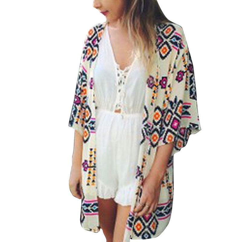Women Geometric Print Plus Size Loose Kimono Shirts