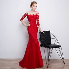 Red Mermaid Evening Dresses Sexy Boat Neck Half Sleeves Floor-length Long Lace Formal Evening Gown Dress 2017(China (Mainland))
