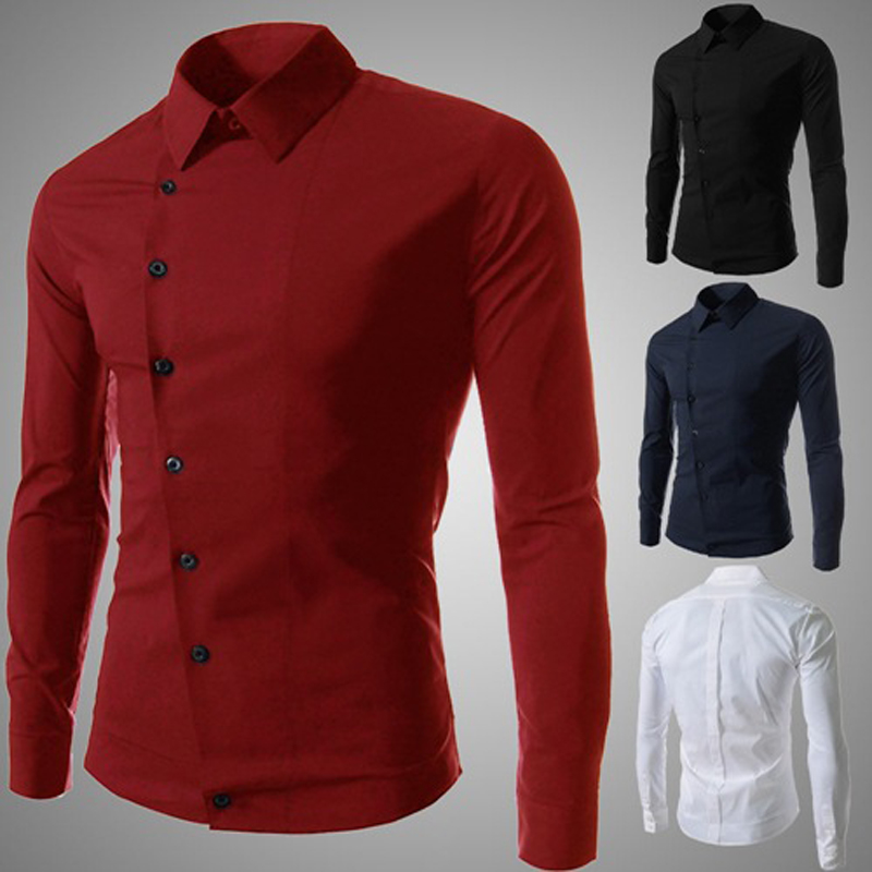 Fashion mens dress shirt casual unique slanting button for In style mens shirts
