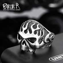 Beier new store 316L Stainless Steel high quality ring Biker Flame Skull  Heavy Metal Punk fashion Jewelry BR8-064(China (Mainland))