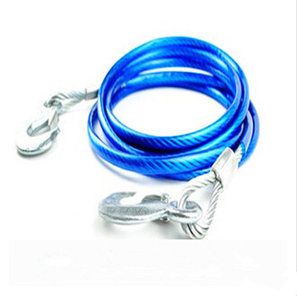New Universal Car SUV Blue 4M Emergency Steel Tow Cable Towing Strap Rope 3 Tons Free Shipping(China (Mainland))