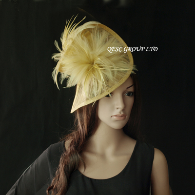 Yellow gold Sinamay Fascinator with Feather flower for kentucky derby,Ascot Races,Melbourne Cup,wedding and party.(China (Mainland))
