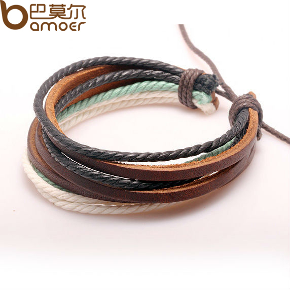 Free Fast Shipping Wrap Braided Bracelet Hemp Rope and Cow Leather for Men and Women Fashion Man Jewelry PI0247(China (Mainland))