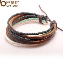 Buy Free Fast Wrap Braided Bracelet Hemp Rope Cow Leather Men Women Fashion Man Jewelry PI0247 for $2.78 in AliExpress store