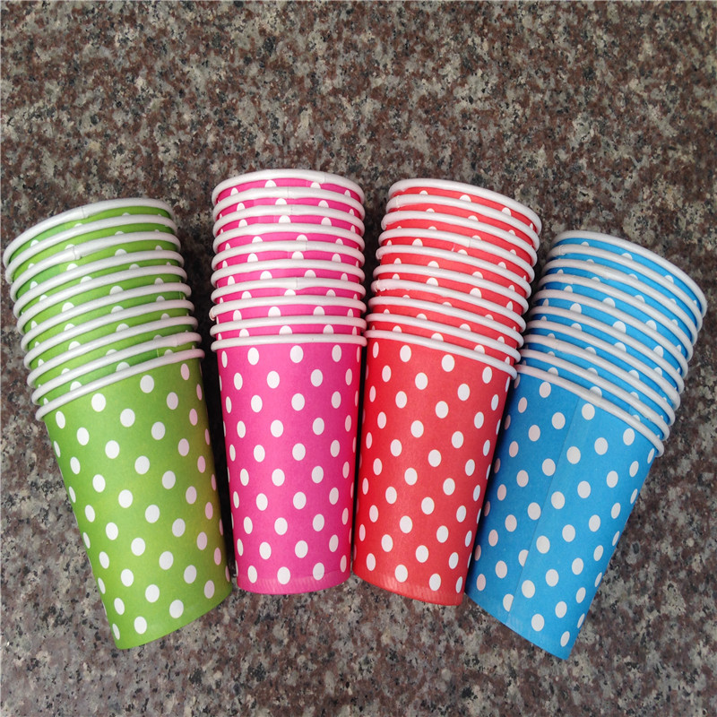 2015 Wholesale Polka Dot Paper Cups Cafe Disposable Cup Wedding Birthday Party Decoration Party Supplies Party Tableware E127(China (Mainland))