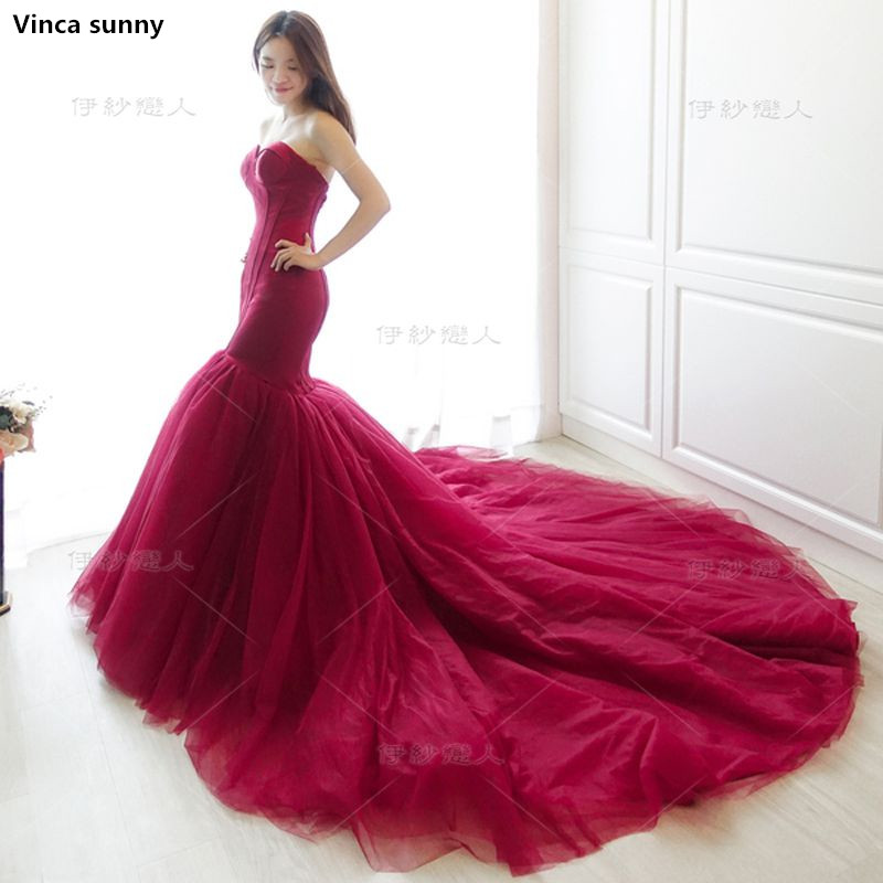 Real Photo Satin Corset Bodice Top Lace Mermaid Wedding Dress Burgundy Bridal Gowns Robe De Mariage Rouge 2017