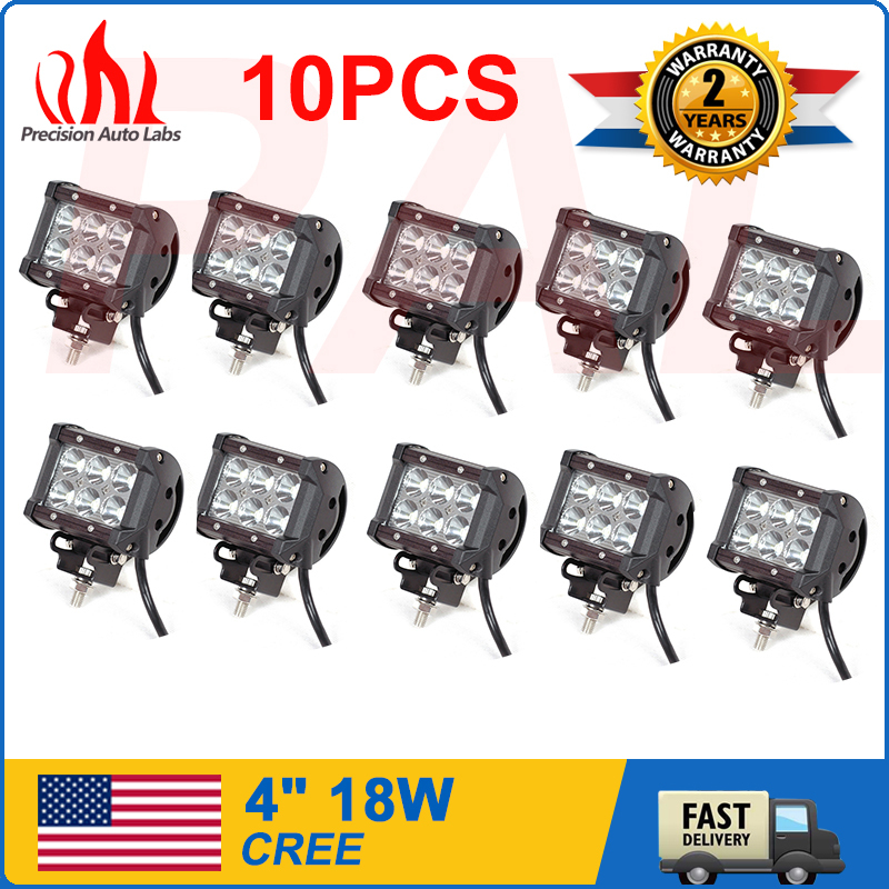 10pcs Spot light LED tractor truck work lights lamp 18W led work light bar cree led offroad SUV 4WD(China (Mainland))