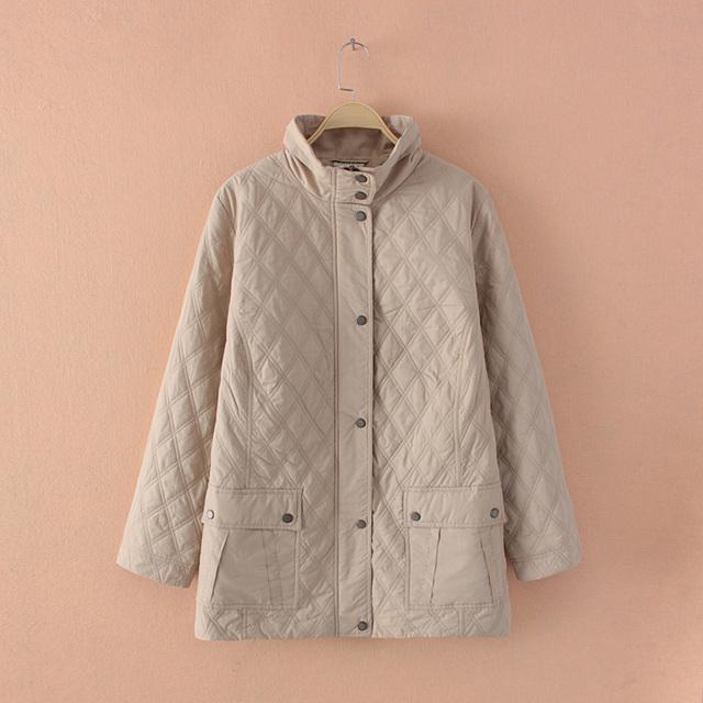 Plus Размер Женщины Lightweight Diamond Quilted Бежевый Длинный Jacket Coat Outwear ...
