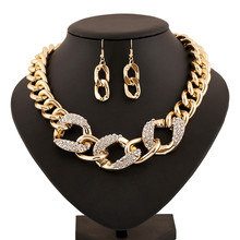 Crystal jewelry sets statement necklace earrings for women jewellery parure bijoux femme indian gold plated kristallen sieraden(China (Mainland))