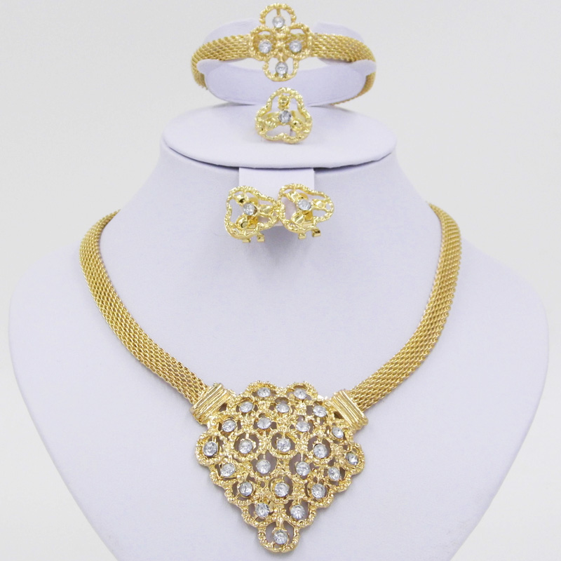 Fine African Beads Jewelry Sets For Women Necklace Earrings Bracelet Rings Set Party 18K Gold Plated Crystal Bijoux Jewellery(China (Mainland))