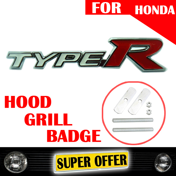 DHL FREE 30 X NEW WHITE RED TYPE R S METAL CAR GRILL BADGE FRONT HOOD EMBLEM LOGO STICKER SCREW FOR CIVIC FIT 068