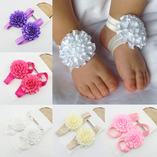2Pcs Baby Infant Toddler Girl Ribbon Flowers Barefoot Sandals Sock Toe Shoes 6X6R(China (Mainland))