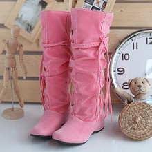 Fashion Women's  Girl's Boots Sexy Knee High Leather Snow Boots Platform Shoes Autumn and Winter Snow Boots Plus Size 34-43(China (Mainland))