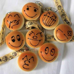 Retail/ 2pcs Cute cartoon Donut squishy charm / mobile phone strap Chain pendant simulation bread smiling face fashion JC27(China (Mainland))