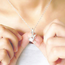 Cute Silver Plated Double Dolphin Rhinestone Short Chain Pendant Necklace Women Fashion Jewelry Wholesale NL 0712
