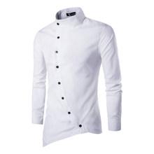 男性シャツ 2019 人格斜めボタン不規則な男性カジュアルシャツ男性服長袖カジュアルスリムフィット男性のシャツ XXL(China)