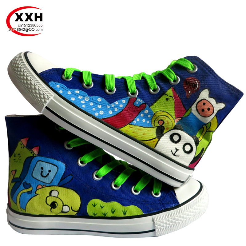 XXH Men Women Student Girls Couples Gift Footwear Breathable Cartoon Adventure Time High Top Lace-Up Hand-Painted Canvas Shoes<br><br>Aliexpress
